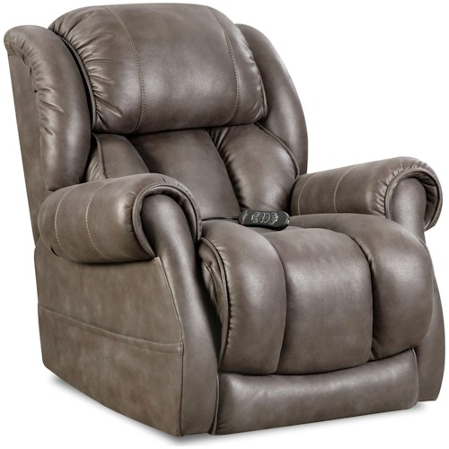 HomeStretch Atlantis Casual Power Recliner with Padded Rolled Arms