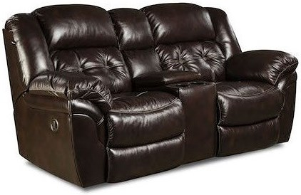 HomeStretch Cheyenne Casual Reclining Console Loveseat with Cup Holders