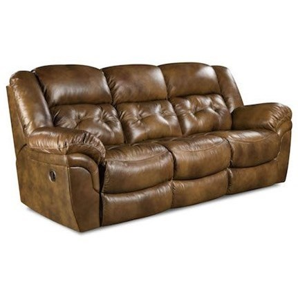 HomeStretch Cheyenne Casual Double Reclining Power Sofa With Pillow Arms