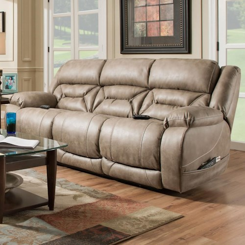 HomeStretch Enterprise Casual Power Reclining Sofa with Power Headrests