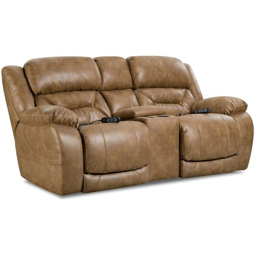 HomeStretch Enterprise Casual Power Reclining Console Loveseat