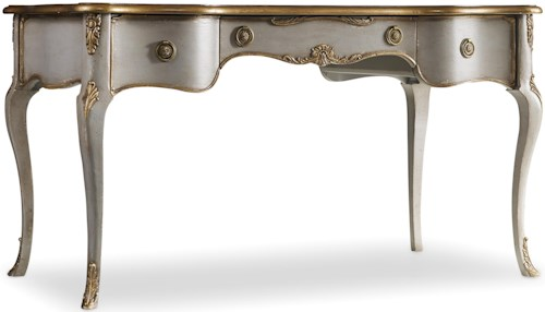 Hamilton Home 5198 Traditional Distressed Gray Writing Desk with Gilded Edging
