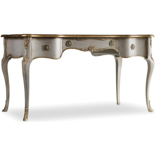 Hooker Furniture 5198 Traditional Distressed Gray Writing Desk with Gilded Edging