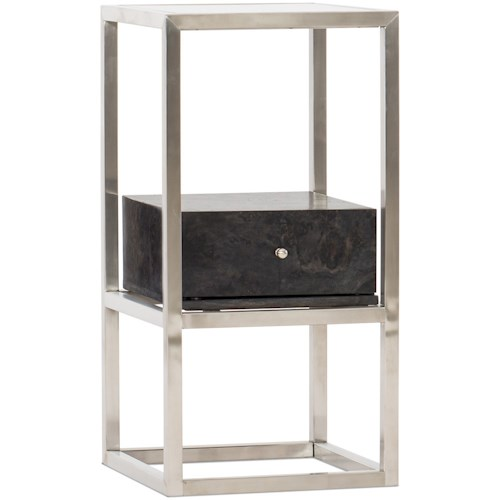 Hooker Furniture 5585-50 Contemporary Accent End Table with Tempered Glass Top