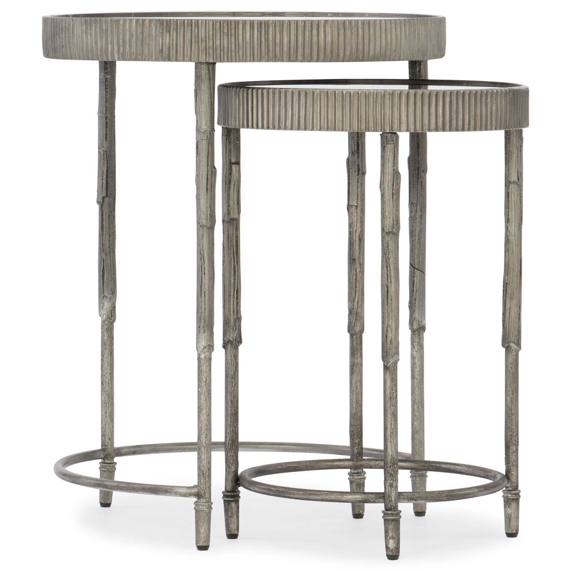 Contemporary Accent Nesting Tables with Mirrored Top