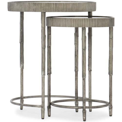 Hooker Furniture 5594-50 Contemporary Accent Nesting Tables with Mirrored Top