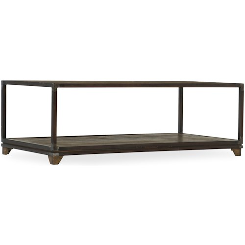 Hamilton Home 5629-80 Industrial Cocktail Table with Reclaimed Wood Top