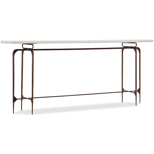 Hooker Furniture 5633 Skinny Metal Console Table with Marble Top