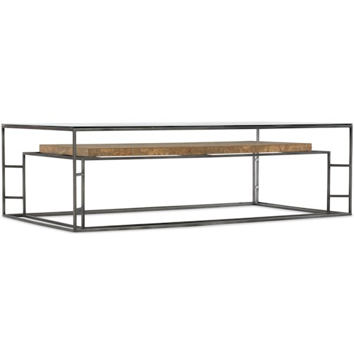 Hooker Furniture 5645-80 Contemporary Rectangle Cocktail Table with Cork Shelf