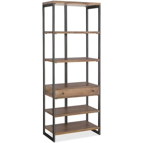 Hooker Furniture 5681-10 Industrial Style Metal/Wood Bookcase with One Drawer