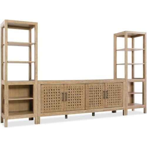 Hooker Furniture 6040-70 Entertainment Wall Unit with Adjustable Shelving and Ventilated Panels