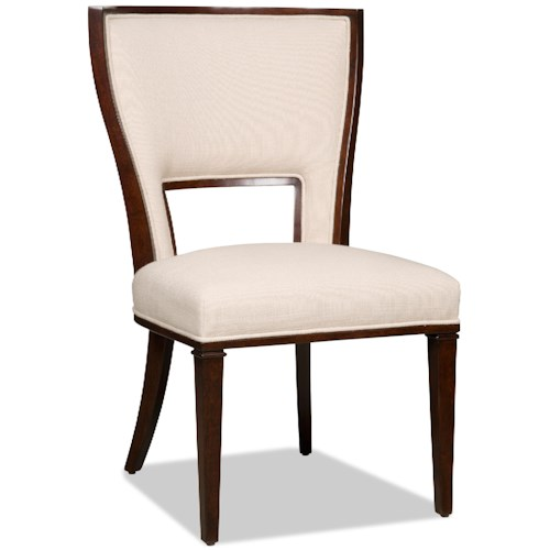 Hooker Furniture Dining Chairs Contemporary Dining Side Chair with Cutout Upholstered Back