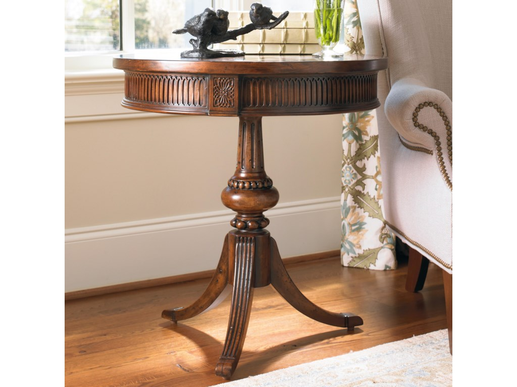 Hooker furniture living room accents 500 50 828 round accent table with ornate pedestal and spider base dunk bright furniture end tables