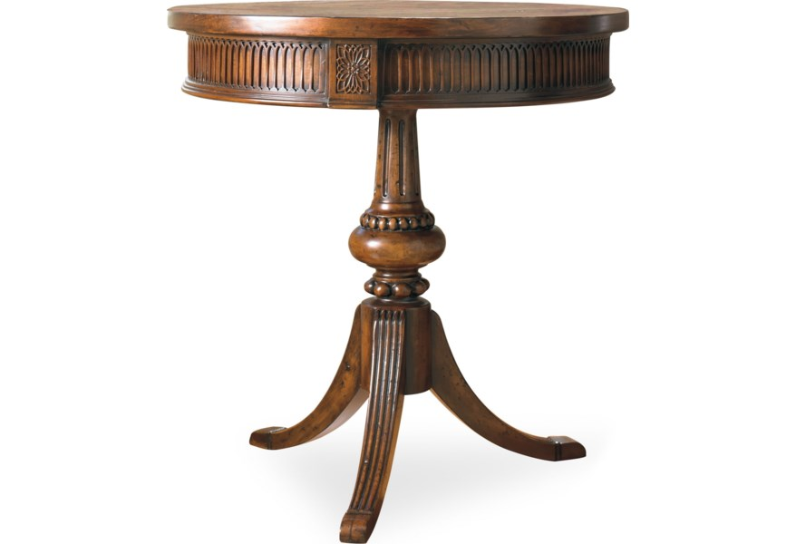Living Room Accents Round Accent Table with Ornate Pedestal and Spider Base  by Hooker Furniture at Dunk & Bright Furniture