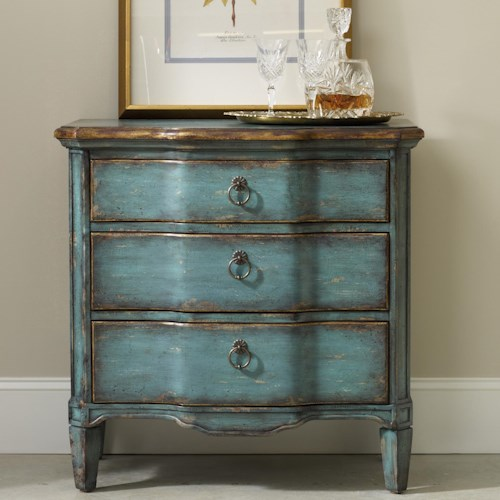 Hooker Furniture Living Room Accents Three Drawer Turquoise Chest with Shaped Front