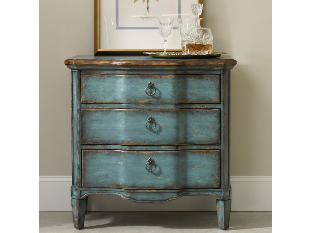 Living Room Accents Three Drawer Turquoise Chest with Shaped Front by  Hooker Furniture at Dunk & Bright Furniture
