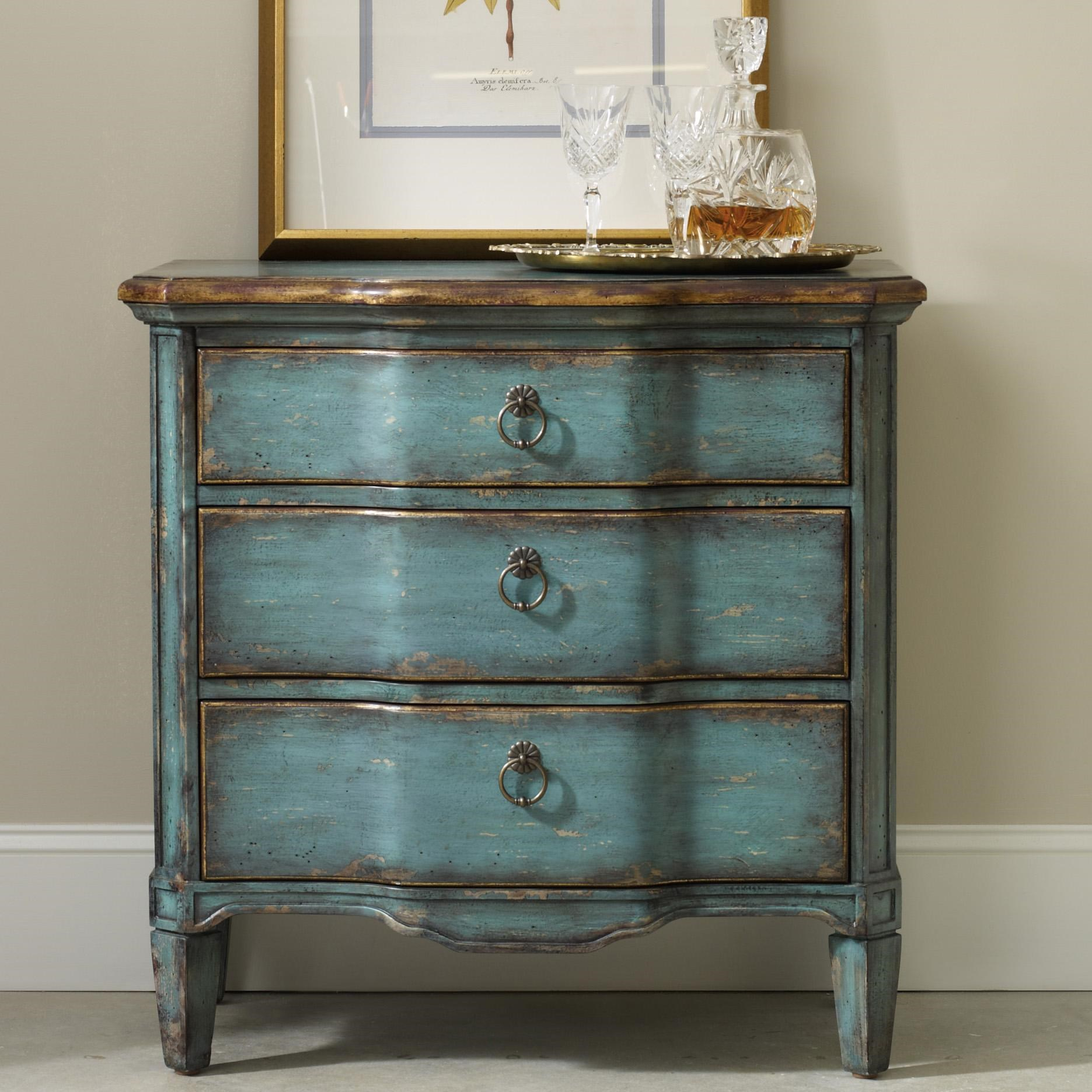 Hooker Furniture Living Room AccentsThree Drawer Turquoise Chest ...
