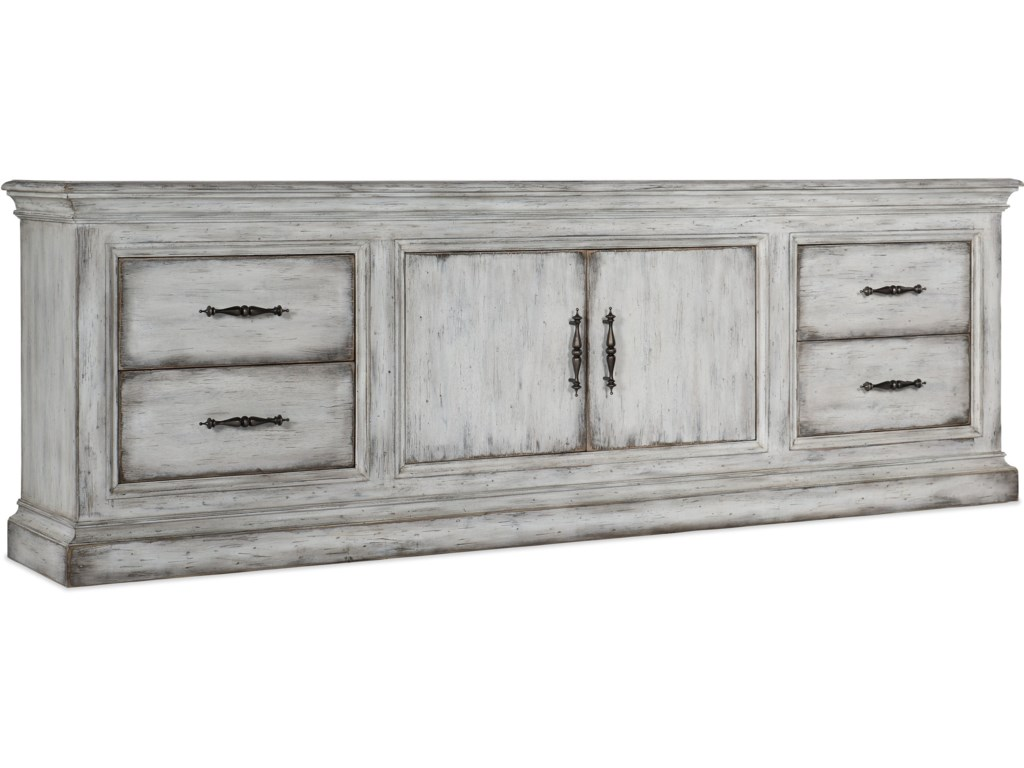 Furniture Living Room Accents Relaxed Vintage 2 Door 4 Drawer Credenza With Adjule Shelf