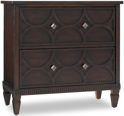 Hooker Furniture Living Room Accents Two-Drawer Accent Chest with Raised Pattern Drawer Fronts