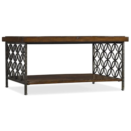 Hooker Furniture Living Room Accents Cocktail Table with Patterned Iron