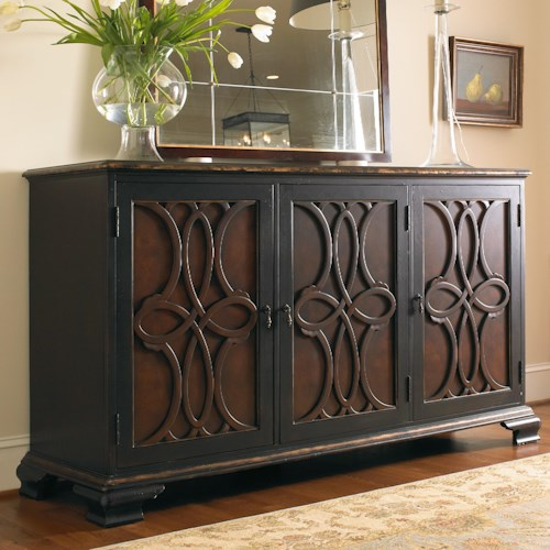 Hooker Furniture Living Room Accents Two Tone Credenza with Raised Applique Door Fronts