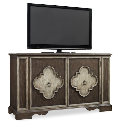 Hooker Furniture Living Room Accents 2 Door Console with Frame Molding and Decorative Panels