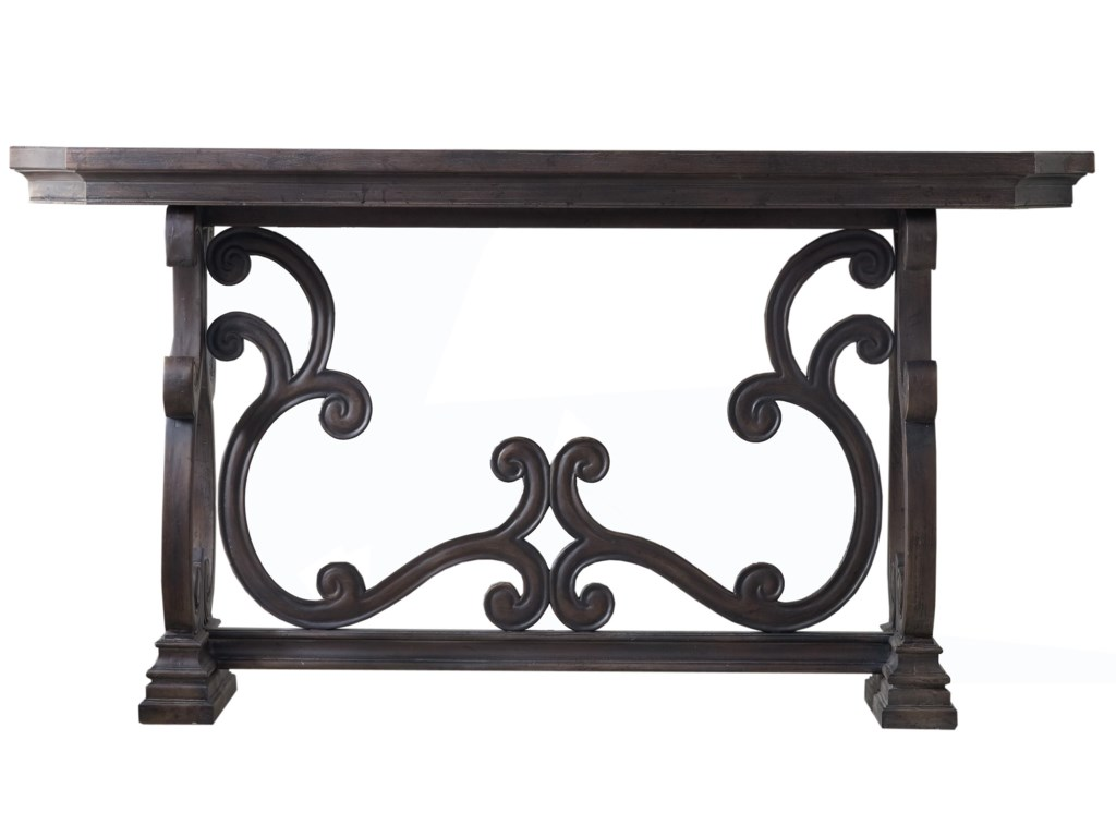 Hooker furniture living room accents 5165 85001 da valle scroll console table dunk bright furniture sofa tables consoles
