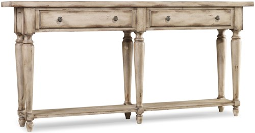 Hooker Furniture Living Room Accents Thin Console with 2 Drawers and Shelf