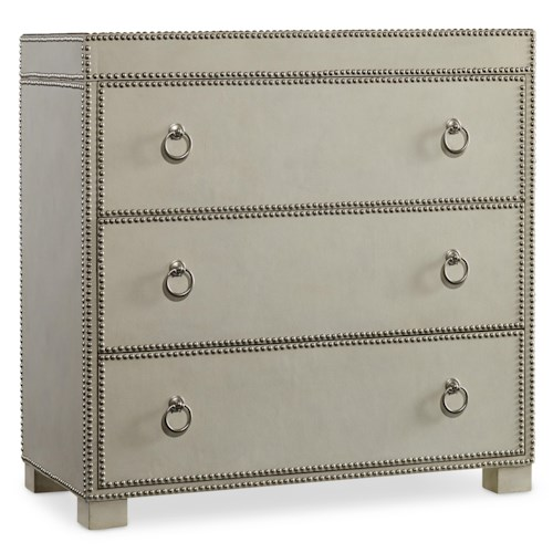 Hooker Furniture Living Room Accents 3 Drawer Chest with Nailhead Trim