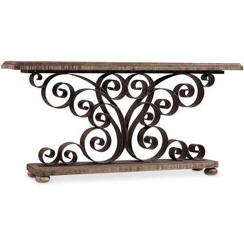 Hamilton Home Living Room Accents Metal Scroll Console with Wood Top