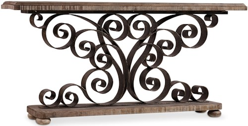 Hooker Furniture Living Room Accents Metal Scroll Console with Wood Top