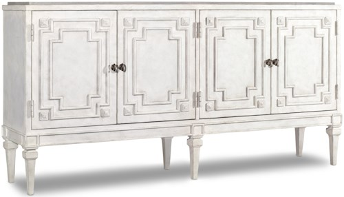 Hooker Furniture Living Room Accents 4-Door Credenza with Grey Faux Agate