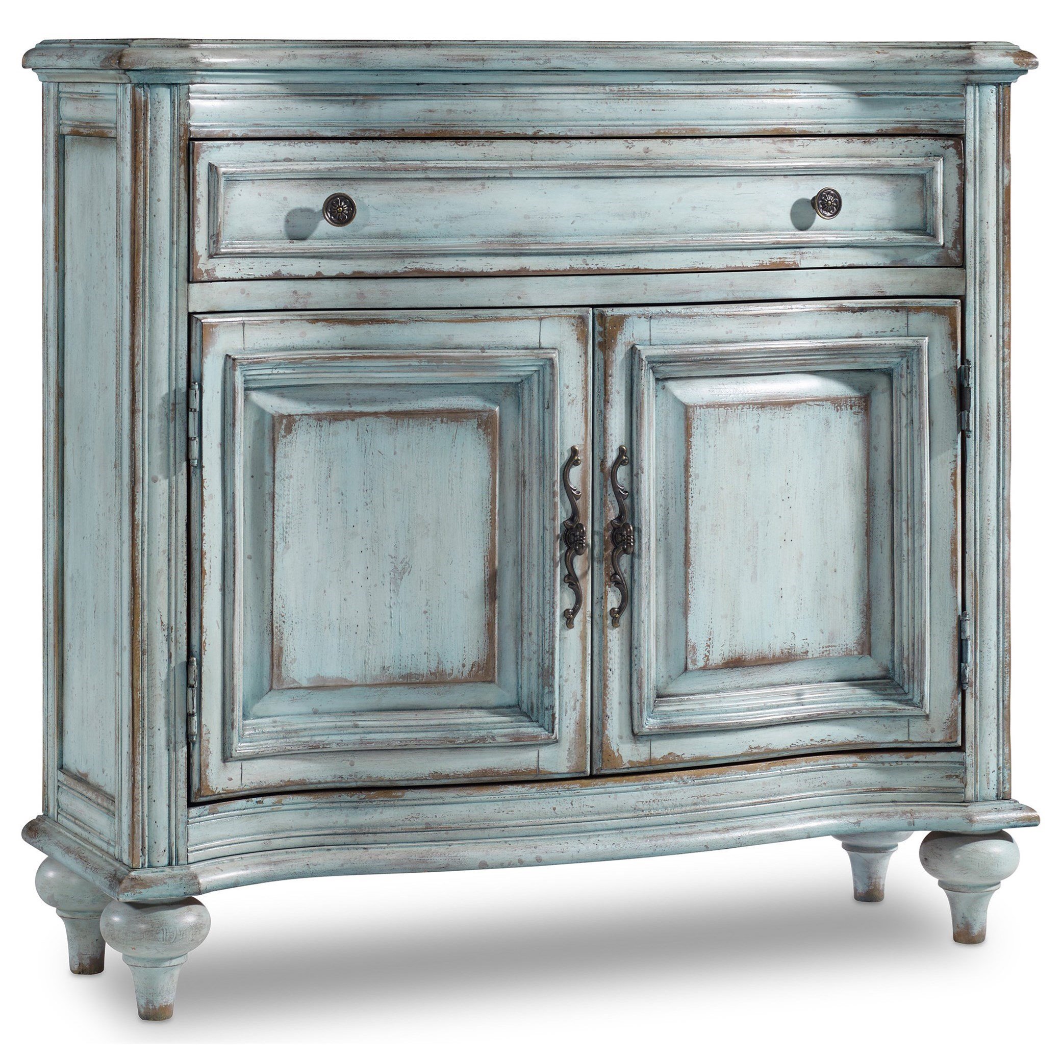 1-Drawer 2-Door Chest in Distressed Blue Finish