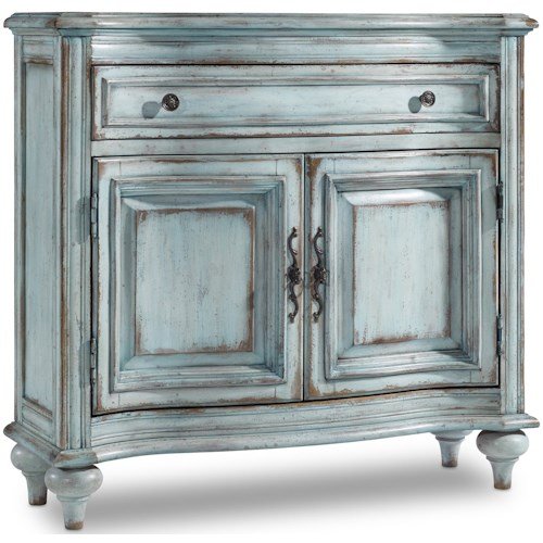 Hooker Furniture Living Room Accents 1-Drawer 2-Door Chest in Distressed Blue Finish