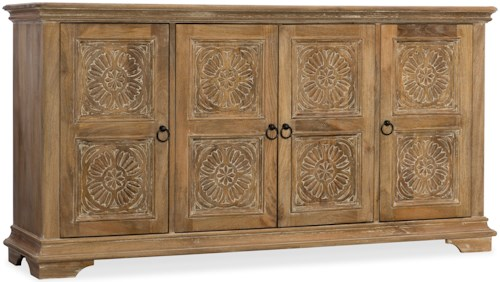 Hooker Furniture Living Room Accents 68 Inch 4-Door Entertainment Console