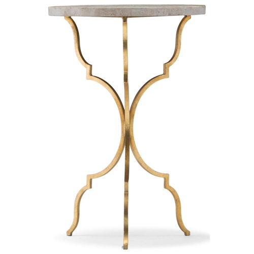 Hooker Furniture Living Room Accents Round Martini Table with Travertine Top