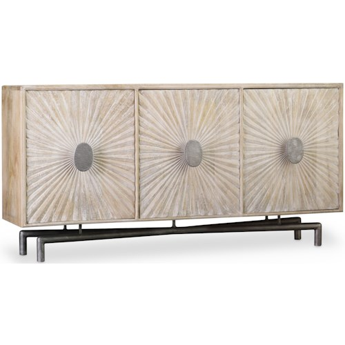 Hooker Furniture Living Room Accents 68 Inch Entertainment Console with Shell Textured Door Fronts