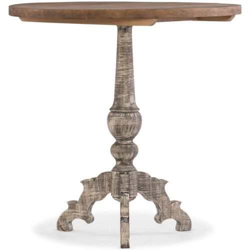 Hooker Furniture Living Room Accents Pedestal Accent Table with Two-Tone Finish