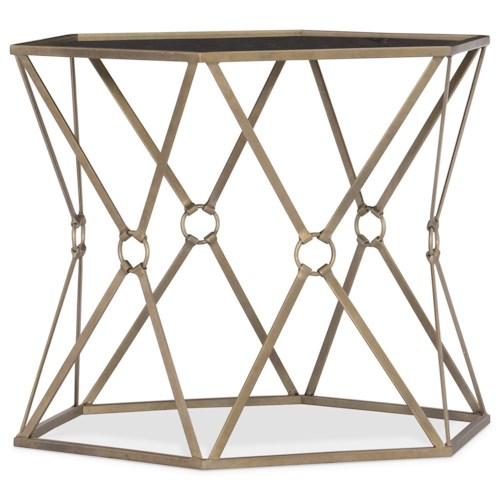 Hooker Furniture Living Room Accents Accent Bunching Tables with Etched Black Glass Top