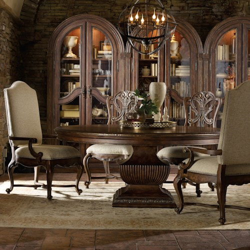 Hooker Furniture Adagio Dining Set with 60 Inch Round Table and 4 Chairs