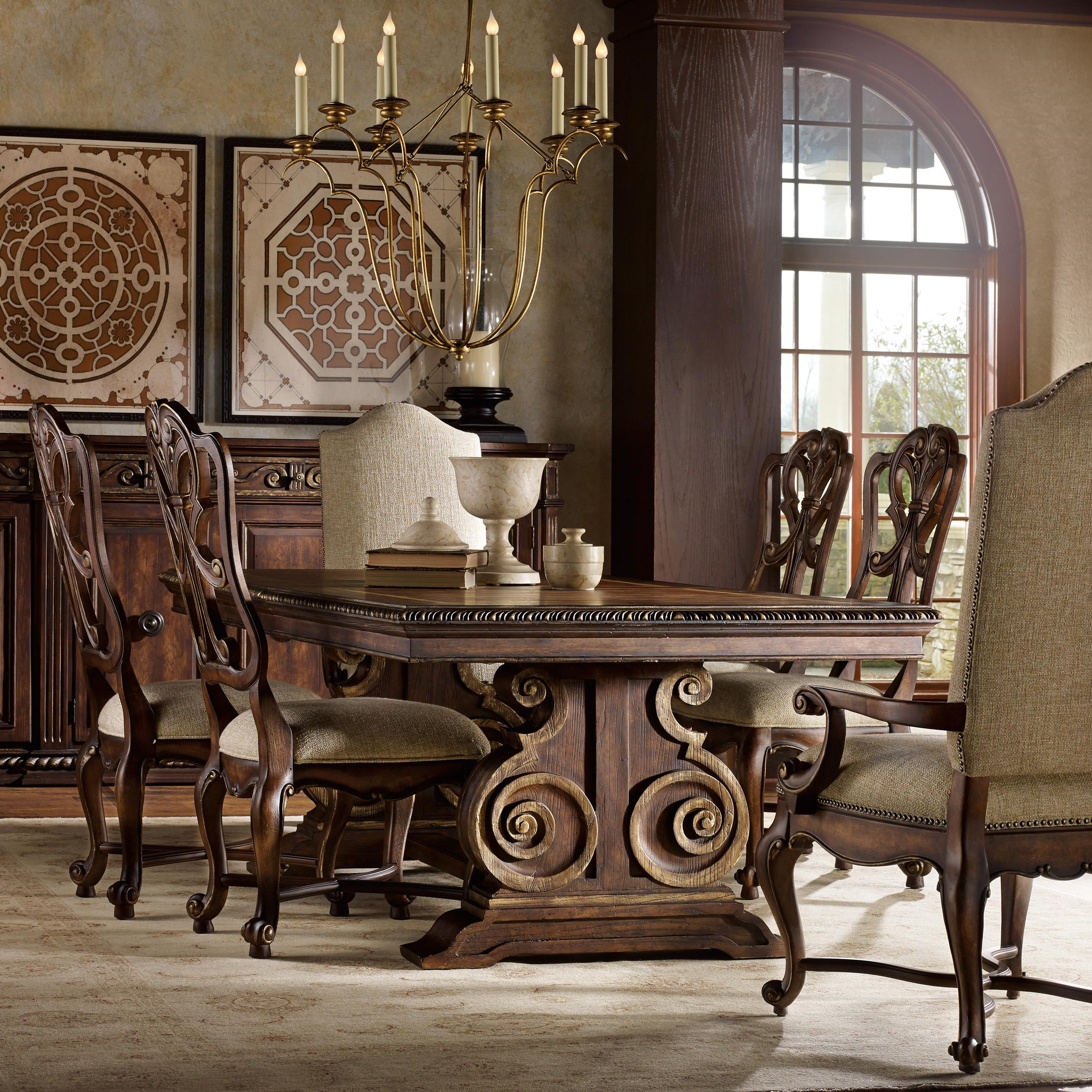 Hooker Furniture Adagio Dining Set With Rectangle Table And 6 Chairs    Belfort Furniture   Dining 7 (or More) Piece Set