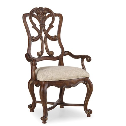 Hooker Furniture Adagio Wood Back Arm Chair with Scrolled Splat Detail