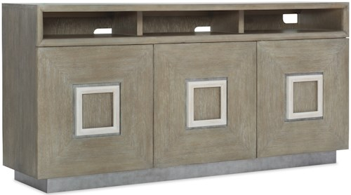 Hooker Furniture Affinity Transitional Entertainment Console with 3 Plug Outlet and Adjustable Shelves