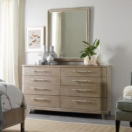 Hooker Furniture Affinity Transitional 8 Drawer Dresser and Mirror with Beveled Glass