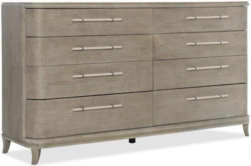 Hooker Furniture Affinity Transitional Dresser with 8 Drawers, 1 Felt Lined Drawer, and Drop-In Jewelry Tray