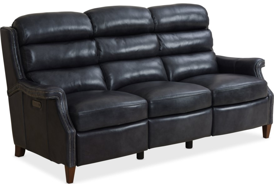 Allay Traditional Leather Motion Sofa with Power Headrest by Hooker  Furniture at Miller Waldrop Furniture and Decor