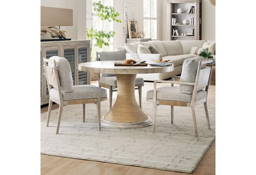 Hooker Furniture American Life Amani 1672 75203 80 2x75312 75302 4 Piece Round Table And Upholstered Chair Set Upper Room Home Furnishings Dining 3 Piece Sets