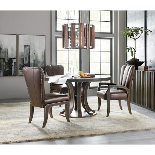 Hooker Furniture American Life-Crafted 4 Piece Round Table and Chair Set