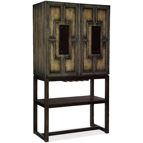 Hooker Furniture American Life-Crafted Two Door Bar Cabinet with Mirrored Backpanels