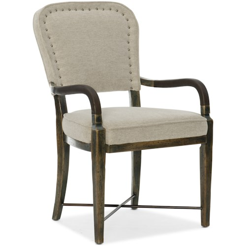 Hooker Furniture American Life-Crafted Upholstered Arm Chair with Nailhead Trim